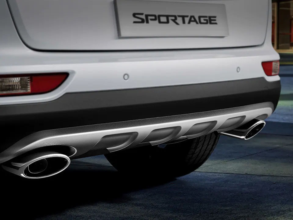 Dual tip exhaust tailpipes and rear skid plate Sportage